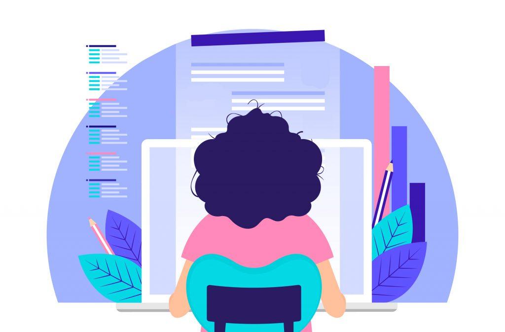 Donna che lavora al computer da casa