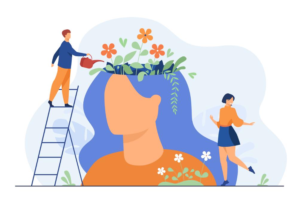 Persona su una scala che innaffia dei fiori all'interno della mente